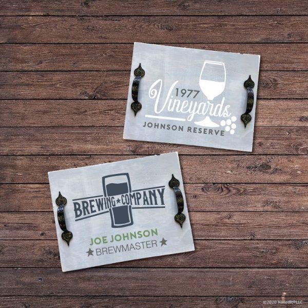 TM129- Whiskey Wine & Beer Bar Trays